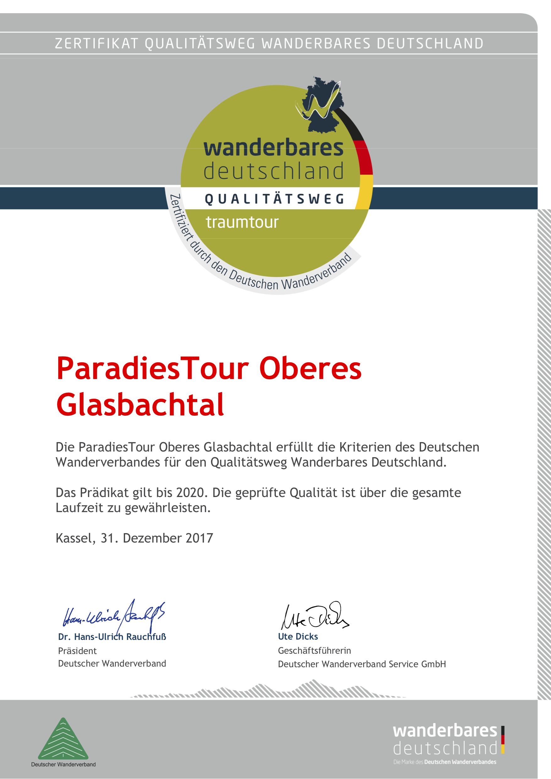 Urkunde ParadiesTour Oberes Glasbachtal Zertifizierung
