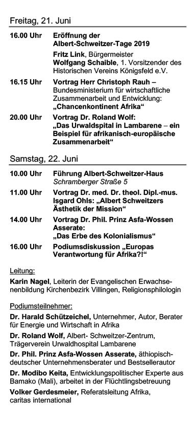 Albert Schweitzer Tage 2019 Programm