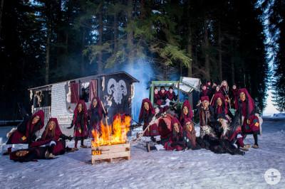 Schoaf-Hexen mit Hexenwagen